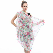 SCARF SHAWL WRAP WITH FLOWER FLORAL DESIGN GIFT FOR LADIES WOMEN