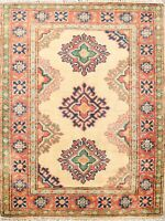 2x3 Vegetable Dye Geometric Super Kazak Oriental Wool Area Rug Handmade Carpet
