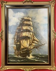 quadro dipinto a olio su tela nave veliero firmato con cornice in stile antico