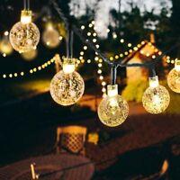 30 LED Solar String Light Crystal Balls Outdoor Garden Patio Party Wedding