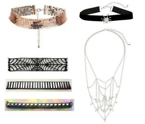 H&M Chokers Necklace Ladies - Rose Gold Silver Studs Black Spider Web Halloween