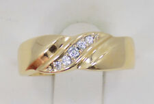 Men's 14k Solid Yellow Gold Diagonal Set Diamond Band Ring ~ 7 1/2 ~ 3.7 Grams