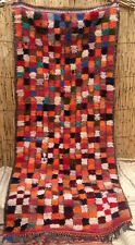 Large Moroccan Wool and cotton boucherouite rug 243 X 110cm