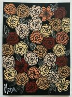 """ACEO Original Acrylic Painting, """"Flower Mood"""" Collection, signed, titled"""