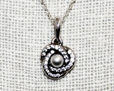 PANDORA Sterling Silver Pearl & CZ Love Knot Pendant Necklace