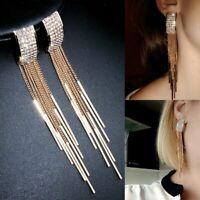 Fashion Gold Long Tassel Crystal Earrings Women Drop Dangle Stud Jewelry Gifts