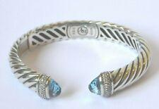 David Yurman  BRACELET DIAMOND & BLUE TOPAZ 925 SILVER WAVERLY HINGED CABLE VGC