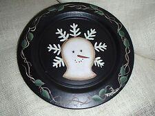 Decorative Holiday Plate -Primitive Snowman u0026 Holly Berries - 11 1/4  Diameter & Holiday Decorative Plates | eBay