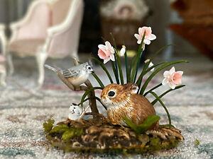 Vintage Artisan Miniature Dollhouse Mary McGrath Bunny Bird Flowers Nature c1990