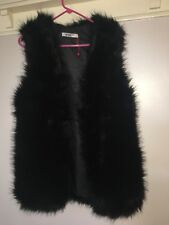 LADIES BLACK FAUX FUR GILET  SIZE SMALL New Without Tags