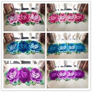 Handmade 3D Rose Area Rug Living Room Bedroom Floor Carpet Door Mats Home Decor