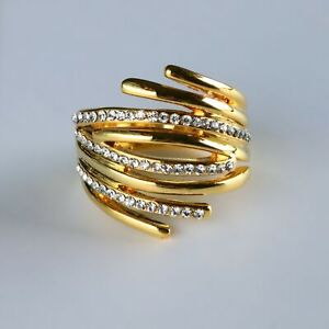 Wave Ring Gold Plated Women Statement Ring Floral Ring Cocktail Ring