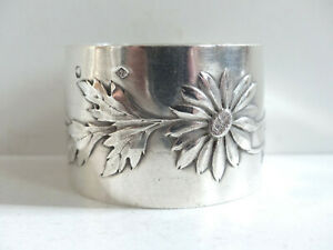 SUPERB ANTIQUE FRENCH ART NOUVEAU SOLID SILVER 950 NAPKIN RING 1920's
