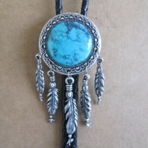 Bolo Tie Dream Catcher, Large Turquoise Stone, Real Silver- Edition, Very Noble