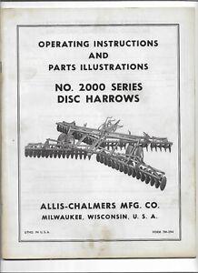 Original Allis Chalmers 2000 Disc Harrows Operators & Parts Illustrations Manual