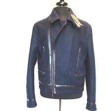 L-2959718 New Gucci Navy 100% Wool Zip Jacket Coat Size US-L/Marked-52