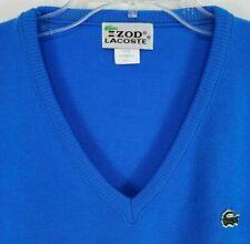 VTG Izod Lacoste Mens 100% Cashmere V-Neck Cardigan Sweater Blue Small