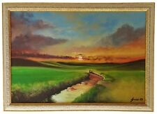 """Sunset Brook "" Original Oil Painting Framed & Signed Landscape Dusk Hills Cloud"