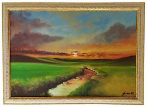 """""""Sunset Brook """" Original Oil Painting Framed & Signed Landscape Dusk Hills Cloud"""