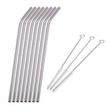 8X Stainless Steel Metal Drinking Straw Reusable Straws Cleaner Brush Kit Silver