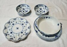 Royal Copenhagen Lot 5pc Blue Fluted Full/Half Lace Tureen Base 1128 Plate Bowl
