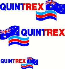 Quintrex Aussie Flag, Side & Back Fishing Boat Mirrored Sticker Decal Set of 3