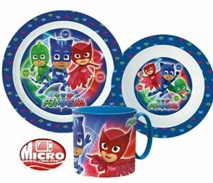 PJ MASK  Kids 3 pcs Dinner Set Plate Bowl Mug  New