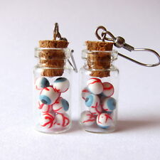 Funny Bloody Ripped Scary Eyes In Glass Jar Punk Goth Earrings Jewelry Gift Idea