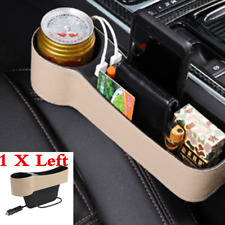 1x PU Beige Car Seat Gap Storage Box Dual USB Cup Holder Organizer For Left Side