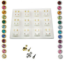 Ear Piercing Studs Earrings Certified Sterile Bezel Gold Silver Crystal Studs