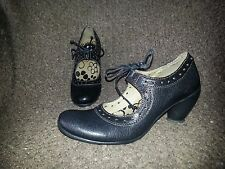 FLY LONDON-Mary Janes w/Lace Up-Black Leather-Sz 37-6.5-Excellent