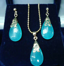 Pretty Natural Blue Jade Pendant Necklace & Earrings Set AAA Top Grade