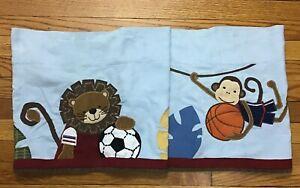 """Boys Sports Animals Baby Nursery Valence Curtain Soccer Ball Safari 56"""" x 16"""""""