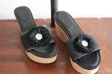 COACH Jazmin Black Canvas Black Leather Trimmed Slip On Mules Sz Women 6.5B Med