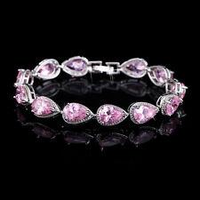 "14k White Gold Tennis Bracelet made w Swarovski Crystal Pink Topaz Stone 7""+1.25"