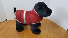 "Eddie Bauer 2006 Stuffed Puppy Dog Red Down Fill Jacket Black Lab Plush 15"" Long"