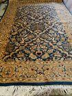 "Vintage Oriental Rug Blue & Gold Wool Blend Carpet Rug 38""x60"