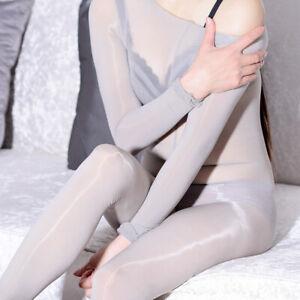 Unisex Shiny Glossy Bodysuit Nylon Silky Bodystocking Long Sleeve COS Playsuit