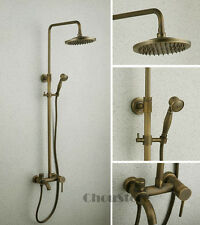 Retro Antique Brass Wall Mounted Bath Rain Hand Shower Tap Set Tub Spout Faucet