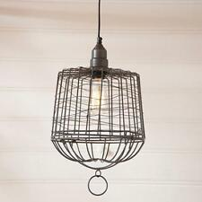 Country new smokey black hanging BASKET cage light / nice