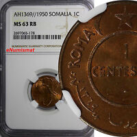 Somalia Copper AH1369 // 1950 1 Centesimo NGC MS63 RB African Elephant KM# 1