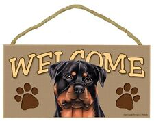 "Rottweiler 10"" x 5"" Wooden Welcome Dog Sign"