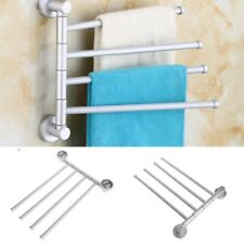 Bath Bathroom Towel Bar Rack 4 Rotating Hanger Wall Mount Towel Storage  Holder