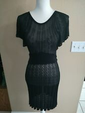Bebe Black Sheer see through Dress size Small short sleeve Stretch
