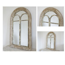 Rustic Gothic Arched Outdoor Mirror Freestanding Vintage Retro Wooden Frame New