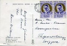 Vaticano - 1952 - Cartolina resa franca con coppia Lire 6 Papa Oro - n.145