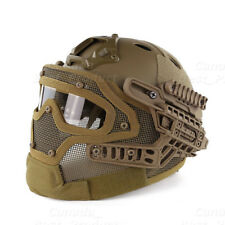 Tactical Protective Googles G4 System Full Face Mask Helmet Molle Paintball Tan