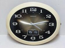 "vintage CARAVELLE  15"" Electronic Wall Clock FLIP Calendar JAPAN  Perfect  Nice"