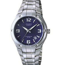 Casio EF106D-2AV, Blue Edifice Watch, Stainless Steel Silvertone Band, Date