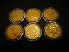 LOT OF 6 SET* 24 KT GOLD PLATED JF KENNEDY HALF DOLLAR COIN ,AIR TIGHT  CAPSULE